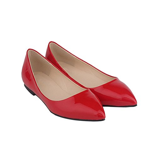 Candy Shoes Womens Color Flat Shallow Pumps Meijunter Leather Mouth Pointed Shoes cRWnZW