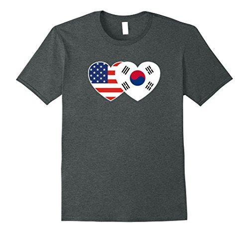 Korea Country Flag (Mens South Korea USA Flag Twin Heart T Shirt for Korean Americans 3XL Dark Heather)