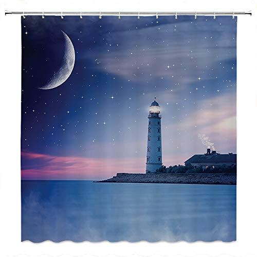 SATVSHOP Creative-Home-Ideas-Textured-Shower-Curtain-with-Beaded-Rings-Lighthouse-Lighthouse-at-Night-Oceanic-Space-Stars-Moon-Smock-Fantasy-Magical-View.W54-x-L78-inch