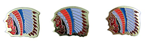 Indian Chief School Mascot Gold Toned with Enamel Lapel Pin, Pack of 3