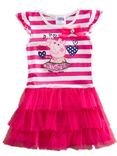Girls Peppa Pig cartoon baby Summer Party Chiffon Bow Tunic Top Tutu (Poly Chiffon Dresses)