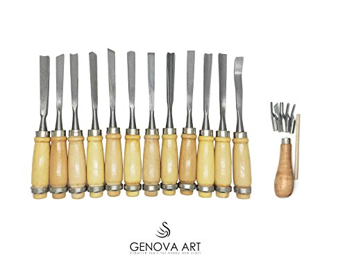 Whittling Knife Wood Carving Chisel Kinfe Set 18 pieces by GENOVA ART