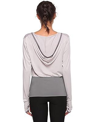 ThinIce Women Activewear Sweatshirt Yoga Wrap Hoodie with Thumb Holes S-XXL Gray