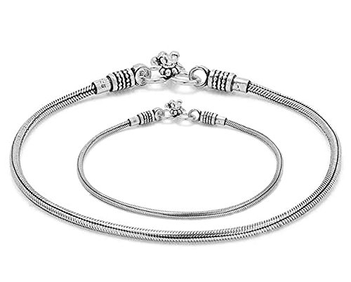 D&D Crafts Sterling Silver Link Anklets for Women For Girls, Women by D&D