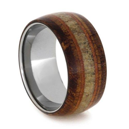 Elk Antler, Black Mesquite, Koa Wood, Cedar 11mm Comfort-Fit Titanium Wedding Band, Size 12.5 by The Men's Jewelry Store (Unisex Jewelry)
