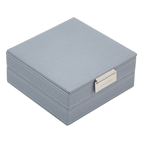 Stackers Set of 2 Dusky Blue Charm Jewelry Box with Chrome - Set Stackers