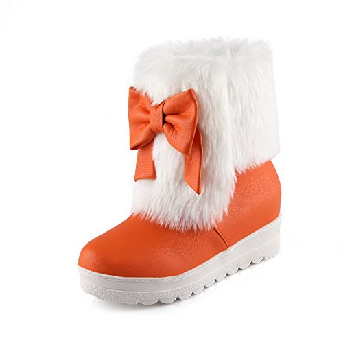 Women's Toe Soft Round Kitten Heels Orange Boots AmoonyFashion Low Material Top Closed Pull On HdR0fwq