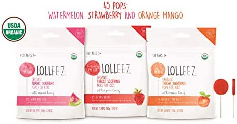 Lolleez Organic Throat Soothing Pops for Kids with Organic Honey - 3pk Variety Pack …