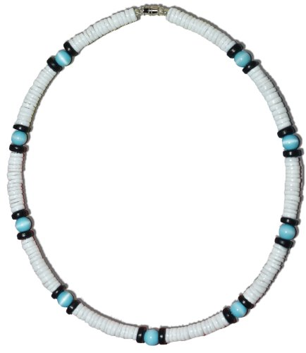 Native Treasure 22 inch Men's White Clam Heishe Puka Shell Necklace Blue Cat-Eye Black Coco Surfer Necklace Choker- 8mm (5/16