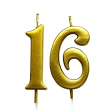 Gold 16th Birthday Numeral Candle, Number 16 Cake Topper Candles Party Decoration for Girl Or Boy