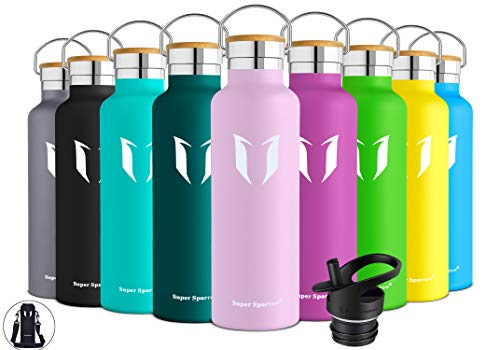 Super Sparrow Stainless Steel Vacuum Insulated Water Bottle, DStandard Mouth -350ml-620ml- 500ml & 750ml & 1L – BPA Free – with 2 Exchangeable Caps + Bottle Pouch (Cherry Blossoms, 750ml-25oz)