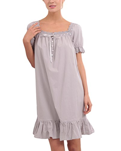 Seazoon Old Fashioned Nightgown Women's Victorian Short Sleeves Vintage Sleepwear Full Slip SE36015 Gary XL -