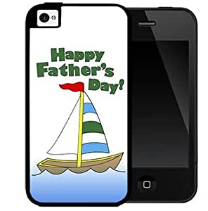 Happy Father's Day with Cute Boat Sailing Blue Ocean 2-Piece Dual Layer High Impact Black Silicone Cell Phone Case Cover iPhone 4 4s by Maris's Diary