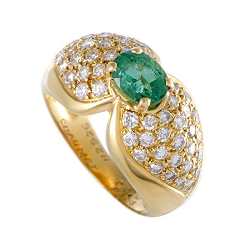 Chaumet 18K Yellow Gold Diamond Pave Emerald Solitaire Ring ()