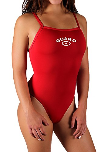 Adoretex Women's Guard Polyester Thin Strap Swimsuit (FGP01A) - Red - 30 ()