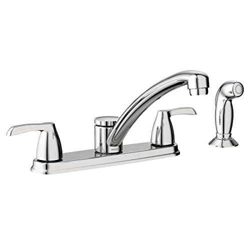 Moen 87046 Two-Handle Low Arc Kitchen Faucet with Optional Knob or Lever Handles, Chrome by Moen