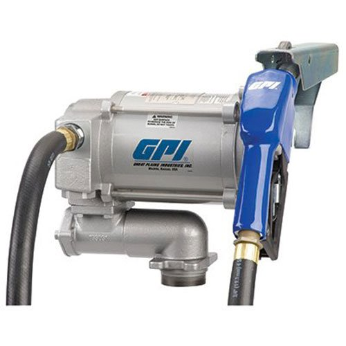 - GPI 133200-2, M-3120-AL High Flow Cast Iron Fuel Transfer Pump, 20 GPM, 115-VAC, 0.75-Inch X 12-Foot Hose, Automatic Nozzle, Weight Centering Base