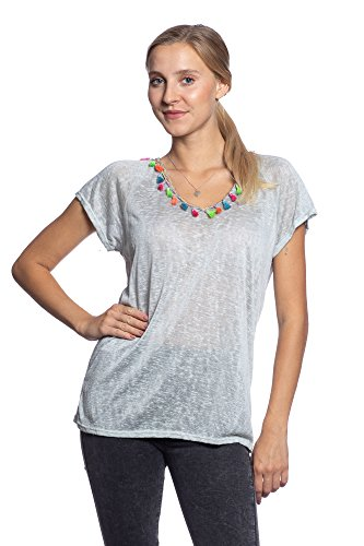Abbino IG020 Shirt Top Femme - Fabriqu en Italie - Plusieurs Couleurs - Collection Branch Transition L'automne Hiver Confortable Tendresse Plaine lgant Doux Flexible Sexy Fashion Vente Gris (Art. 1276)