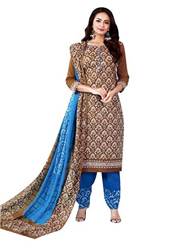 Ladyline Ethnic Batik Printed Salwar Kameez Suit Casual Womens Indian Dress (Size_48/ Brown) ()
