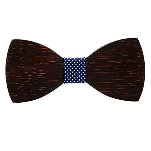 Mens Classic Handmade Wood Bow Tie Party Business Butterfly Cravat Party Ties by SFE 12cmX5.5cmX4.5cm.