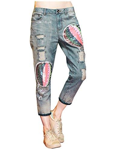 Elf Sack Womens Fall Sequins Beadings Long Jeans Denim Pants Blue Small (Pants Jeans Sequin)