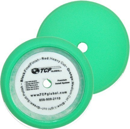 "TCP Global Brand 8"" Green Fine Foam Buffing Grip Pad Final Cut Polish Finishing - Hook & Loop"
