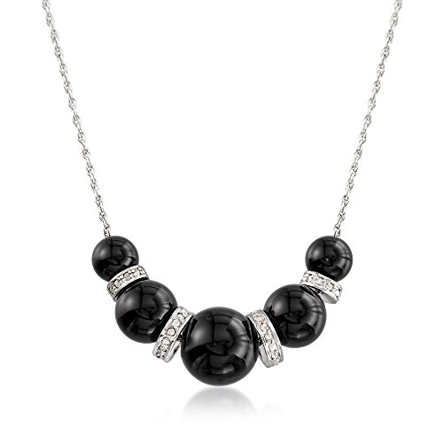Ross-Simons 6-10mm Graduated Black Onyx Bead and .37 ct. t.w. Diamond Spacer Necklace in Sterling Silver