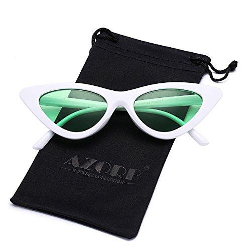 AZORB Women's Vintage Inspired Fashion Cat Eye Sunglasses Plastic Frame Colored Lens (White/Green) ()