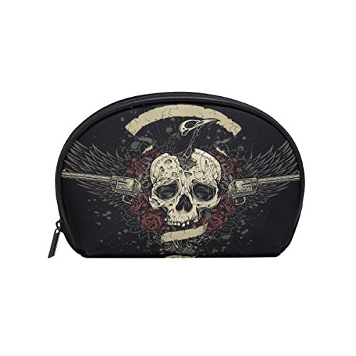 ALAZA Skull Rose Half Moon Cosmetic Makeup Toiletry Bag Pouch Travel Handy Purse Organizer Bag for Women Girls
