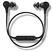 Optoma NuForce BE2 Wireless Bluetooth Earphones with patented SpinFit eartips, 10h battery, microphone, AAC support for iPhone, sweat proof, Black