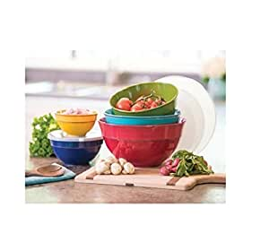 Durable and Perfectly Sized Melamine Bowls with Lids 10 Piece Set (Multi Solid)