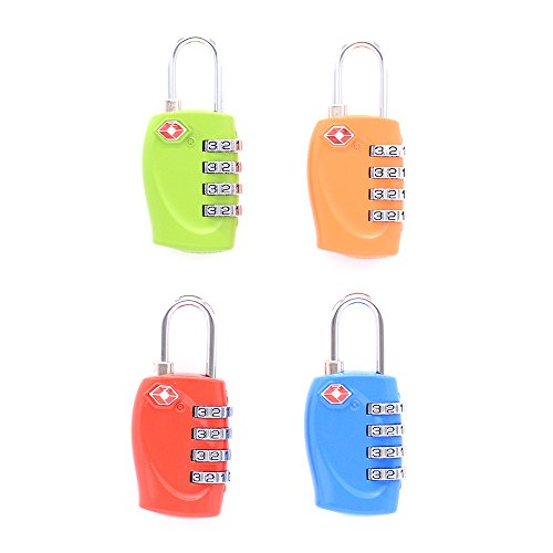 TSA Lock 4 Pack - Compatible Travel Luggage Locks, Inspection Indicator, Easy Read Dials (Green,Orange,Blue, Red) by SiHarbor