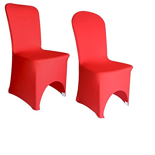 ANKKO Spandex Lycra Elastic Arched Chair Cover Wedding Banquet Reception Red