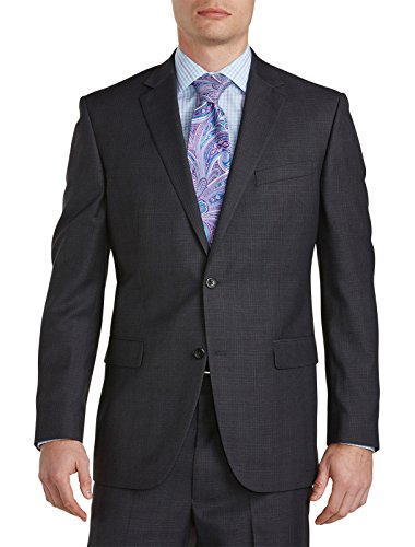 Green Beene Geoffrey Beene Big and Tall Plaid Deco Suit Jacket Charcoal 54 reg