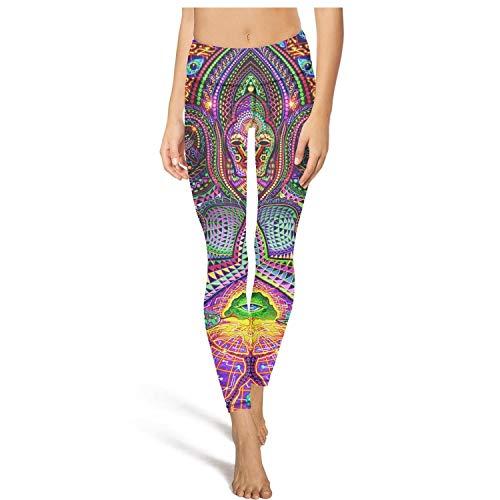 PLOKINC Flare Yoga Pants for Womens Printed Yoga Trippy Digital Art Sport Workout Running Legging Girls Tights]()