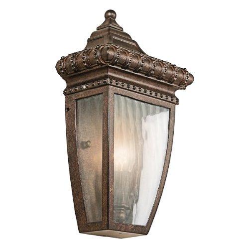Kichler Lighting Kichler 49130BRZ Venetian Rain 1-Light Outdoor Wall Lantern, Burnished Bronze with Vertical Rain Glass by Kichler