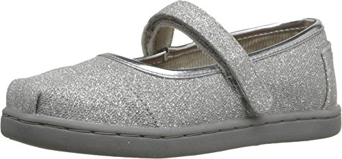 TOMS Kids Baby Girl's Mary Jane Flat (Infant/Toddler/Little Kid) Silver Glimmer Flat 3 Infant (Silver Toms For Toddlers)
