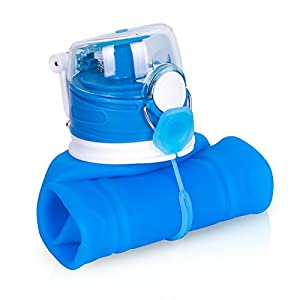 ZOADLE Reusable Collapsible Water Bottles - 1 Litre (35 oz), BPA Free, FDA Approved, Leak Proof, Wide Mouth, Flip top, Portable Silicone Sports Water Bottles, for Travel/Outdoors/Exercise (Blue)
