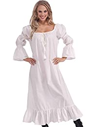Women Fancy Dress Party Costume Maid Marion Tudor Victorian Medieval Chemise