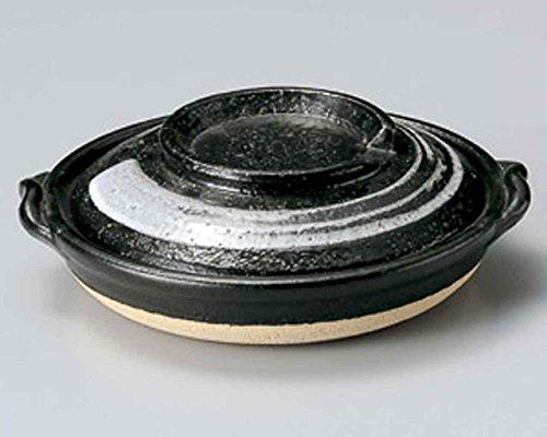 Tenmoku Brush Yanagawa for 2-3 persons 7.9inch Donabe Japanese Hot pot Black Ceramic Made in Japan by Watou.asia