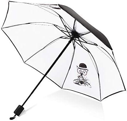 XIAOLUO Paraguas de Vinilo de Flor de durazno Creativo, Paraguas UV, Paraguas Triple Femenino de protección Solar, Perro médico, 58 * 8K