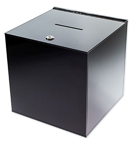 SourceOne Medium 8 Inch Premium Black Acrylic Ballot Box Donation Box Cube by SOURCEONE.ORG