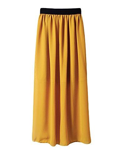 Jueshanzj Femme Robe plisse avec un lastique Jaune Fonc