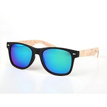 Sonnenbrille Wayfarer Nerdbrille 400 UV Ziermandel Holzdesign Maserung dunkelrot nZtmB7e