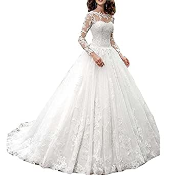 Romanticdresses lace long sleeves wedding dresses bridal for Amazon cheap wedding dresses