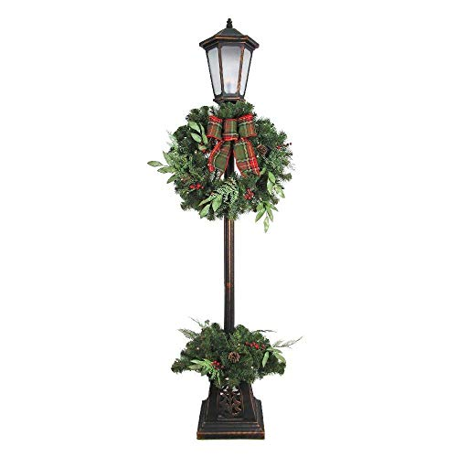 Home Accents Holiday Christmas 7' Woodmoore Lamp Post Warm, Warm White ()