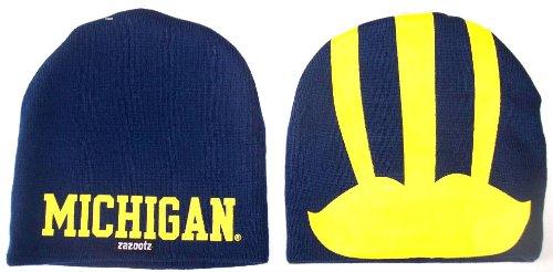 - Michigan Wolverines NCAA Cuffless Logo Knit Beanie Hat Cap Huge Helmet Logo