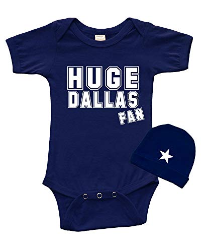 - Infant Short Sleeve Bodysuit + Cap Set -Huge Dallas Fan (6-12m, Navy)