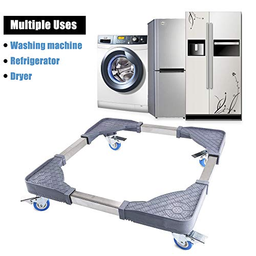 CJGQ Adjustable Movable Base Washer Dryer Dolly with 4 Locked Swivel Rubber Wheels Washing Machine Refrigerators Universal Pedestal Mobile -