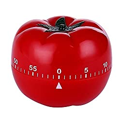Novelty Cute 1-60min 360 Degree Rotating Tomato Shape Timer, Mechanical Kitchen Ring Alarm Tool for Cooking Food Countdown Timer Clock